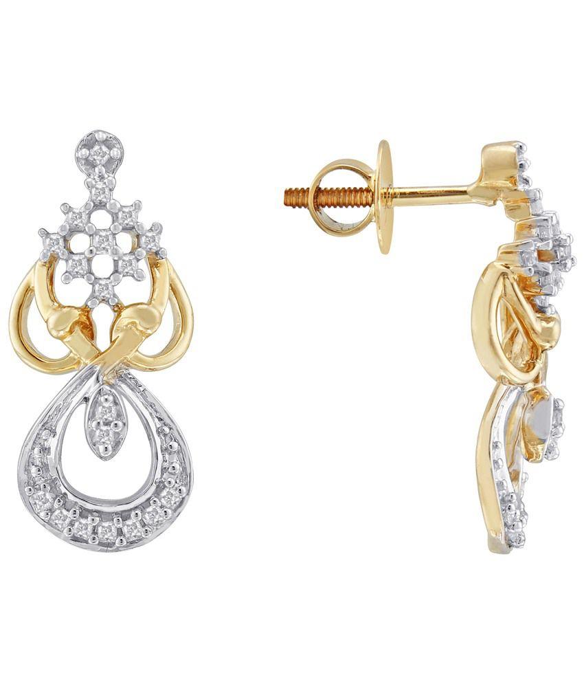 G'Divas 18 Kt Gold & Diamond Contemporary Drop Earrings