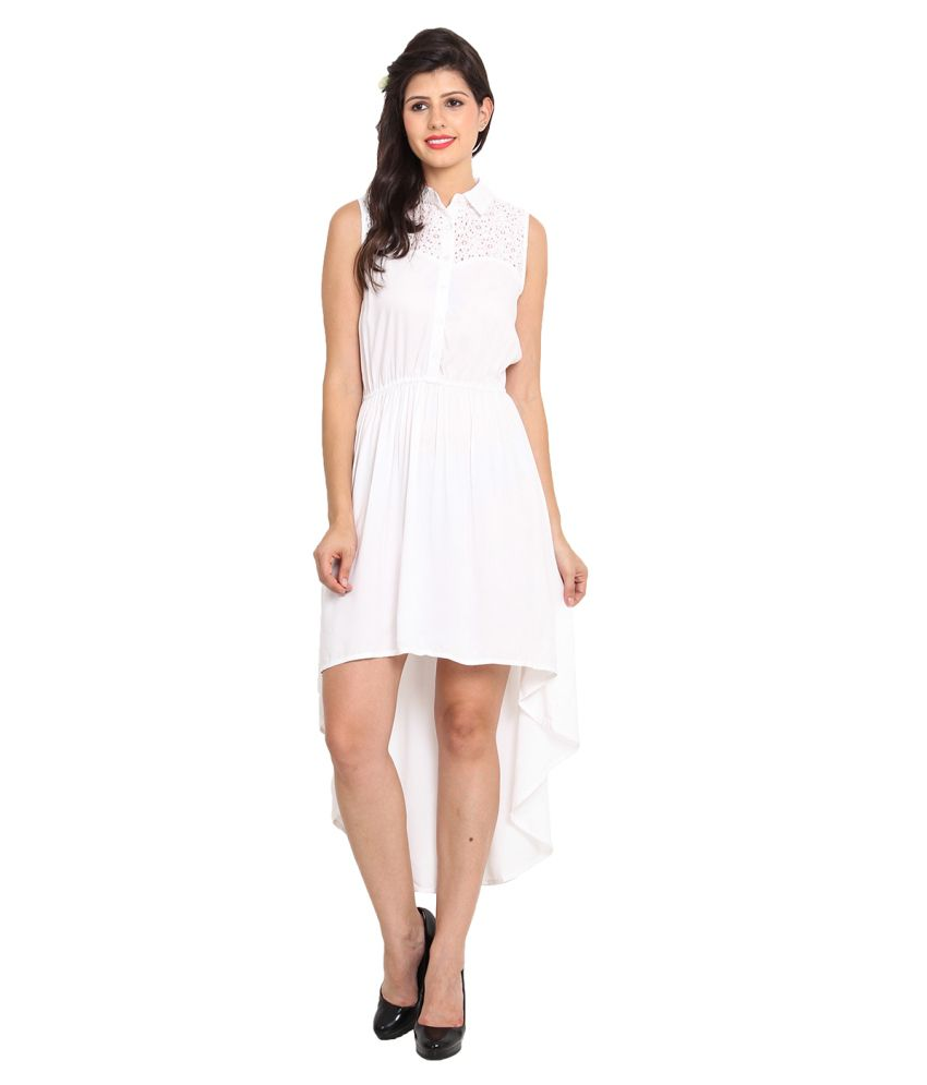 Nvl White Rayon Dresses