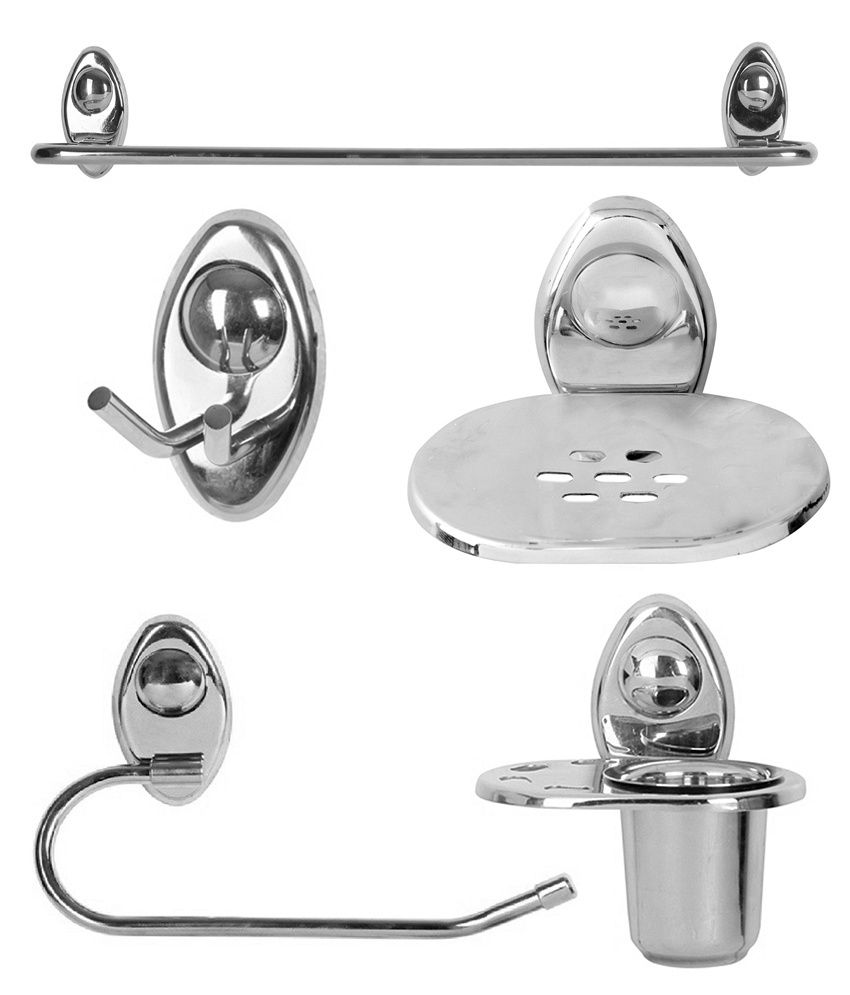 Zahab Icon Stainless Steel Bathroom Set Of 5