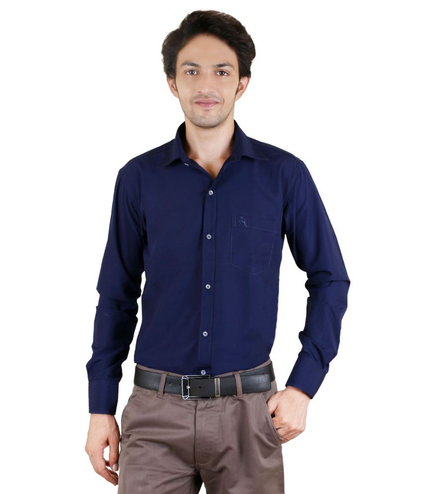 Zrestha blue 100 percent cotton full sleeves formal shirt 100 cotton tuxedo shirt