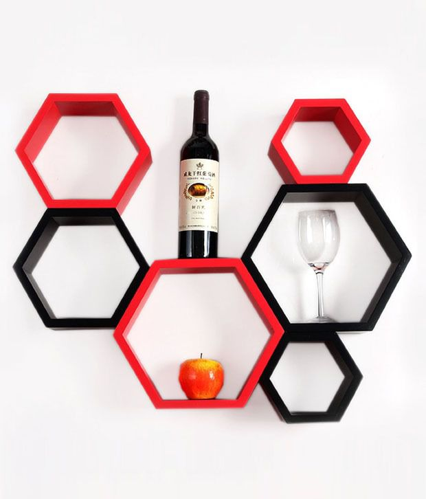 beehive shaps set of 6 wall shelves in black red buy beehive