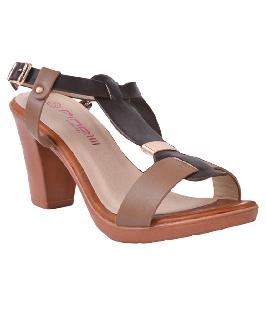 Pinellii Khaki Block Heeled Sandals