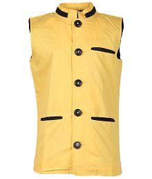 Cool Quotient Yellow Cotton Nehru Jacket