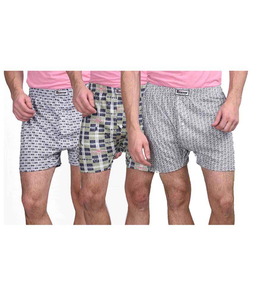 Eprilla Multicolour Cotton Printed Boxer Shorts (Pack of 3)