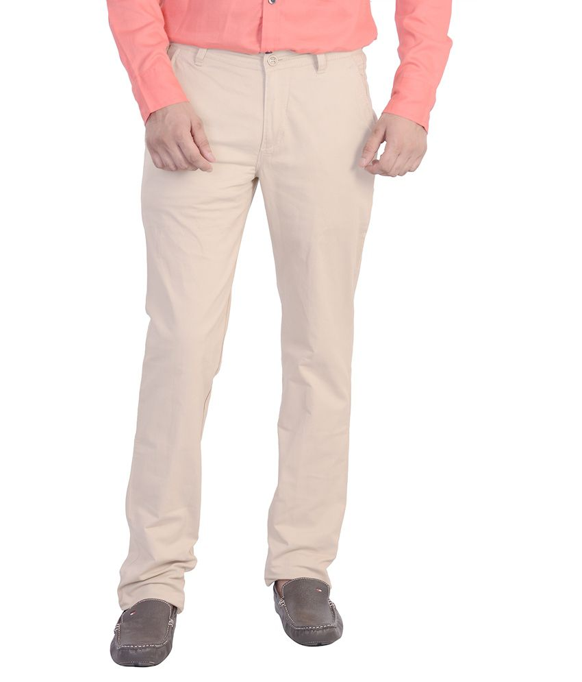 Mild Kleren Men's Plain Slim Fit Off White Cotton Casual Trouser