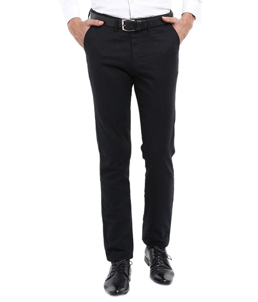 Locomotive Black Regular Fit Casual Trousers