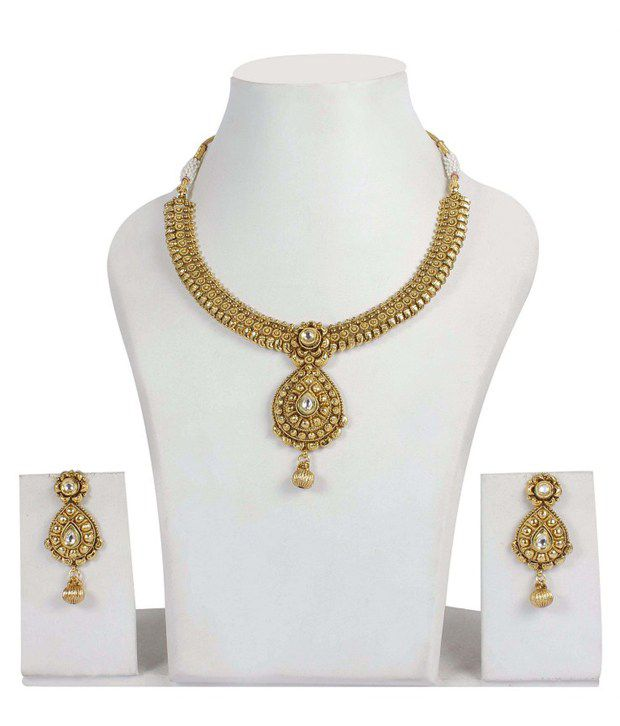 Much More Gorgeous Bollywood Design Kundan Wedding Jewelry Polki Necklace Earring Set