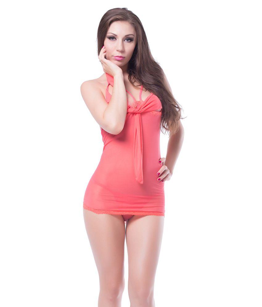 N-gal Orange Polyester Baby Doll Dresses