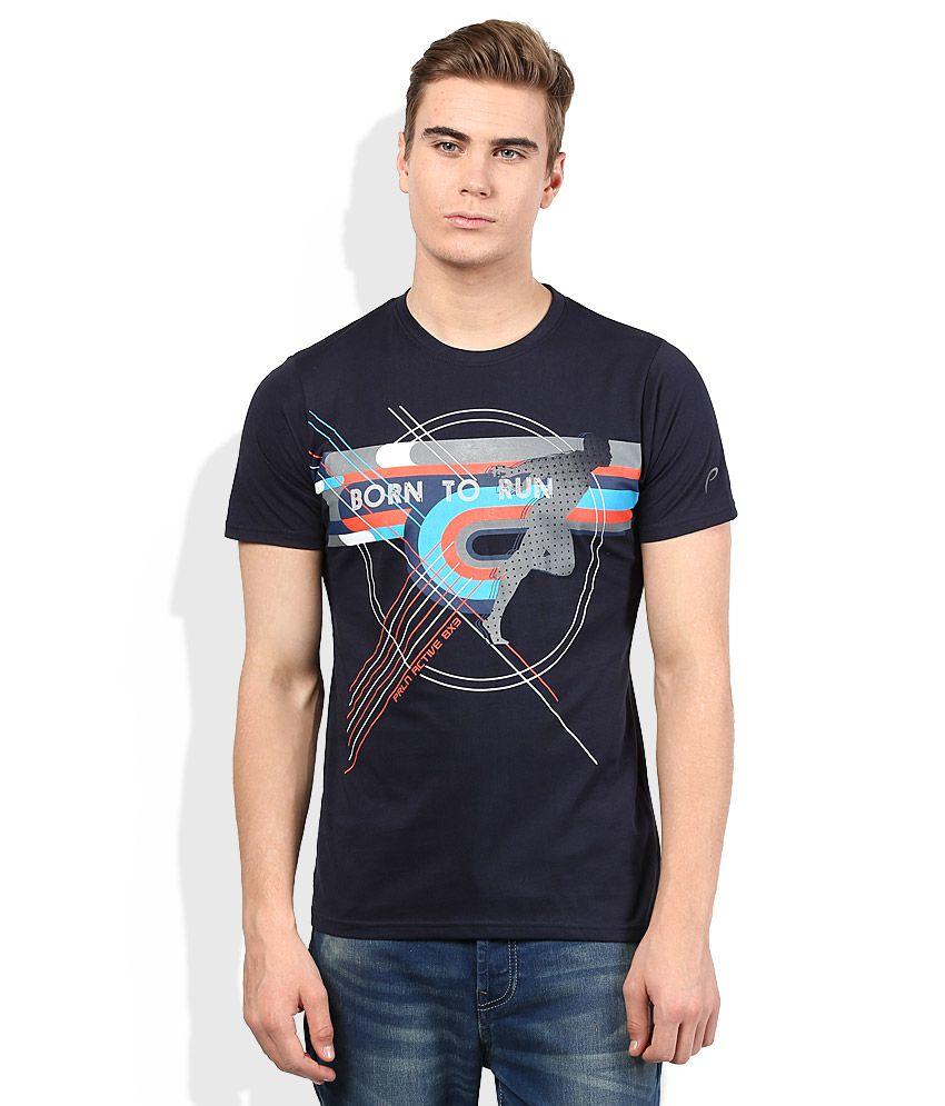 Proline Navy Blue Printed Round Neck T Shirt