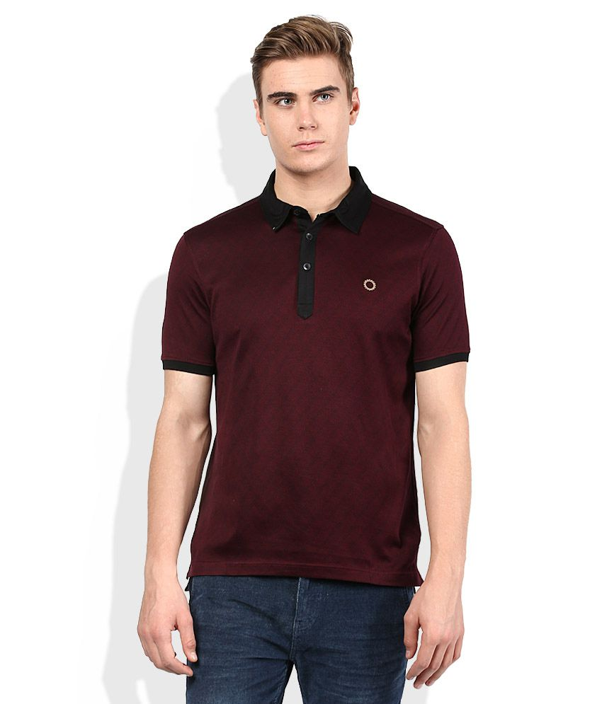 Proline Maroon Solid Polo T Shirt