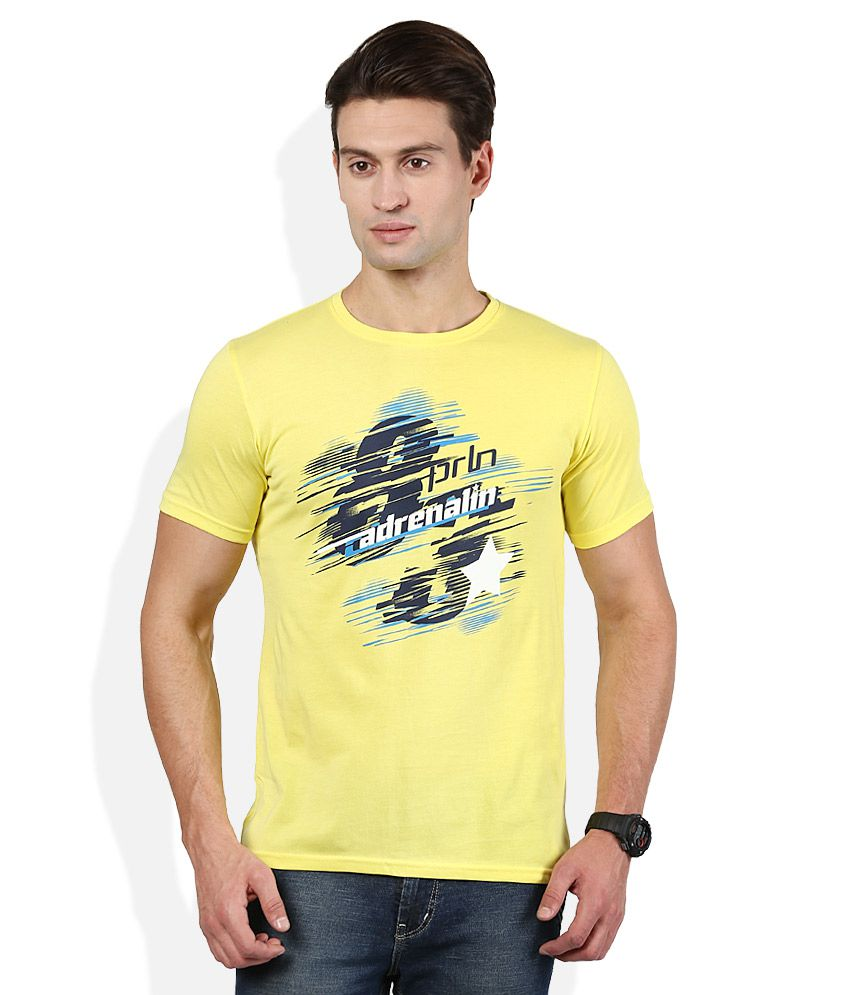 Proline Yellow Printed Round Neck T Shirt
