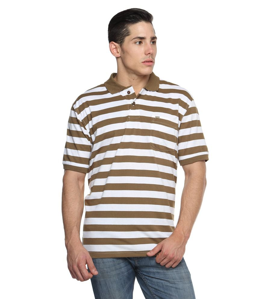 Tempt Brown Half Sleeves Stripers Polo T-shirts
