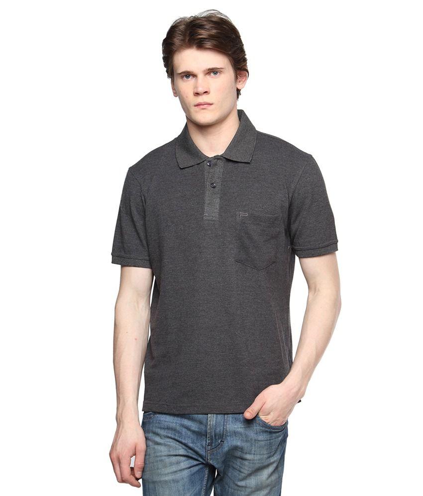 Tempt Grey Half Sleeves Basics Polo T-shirts