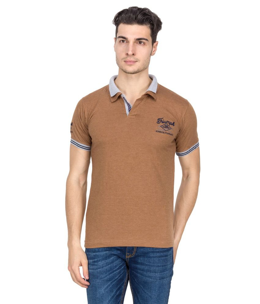 V9 Brown Half Basics Polo T-shirt