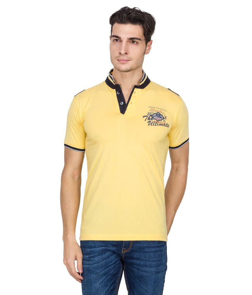 V9 Yellow Cotton Blend Henley T-shirt