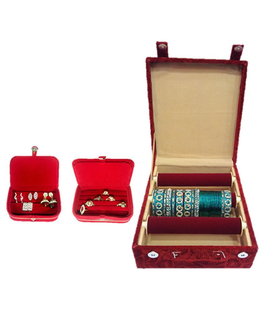 LNC Red Valvet Rool Bengal Box With Ring And Earing Box