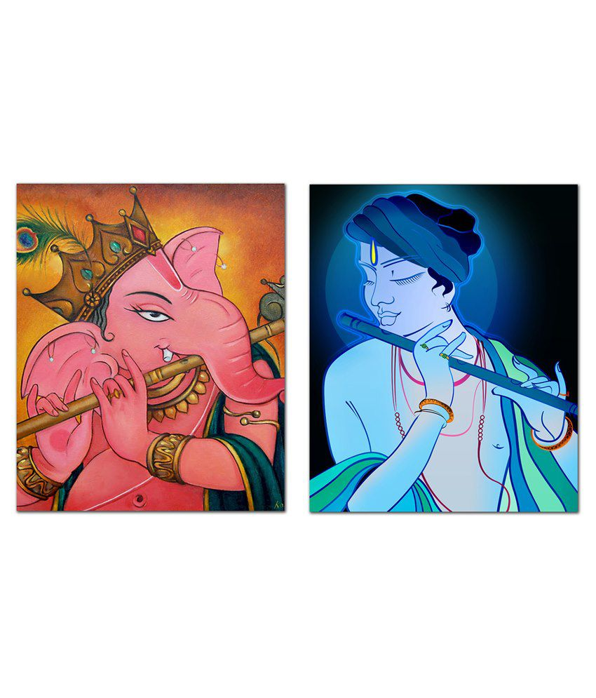Tiedribbons Set Of Two Canvasganesha And Krishna Playing Flute Exotic Home Decore For Diwali- Diwali Gift