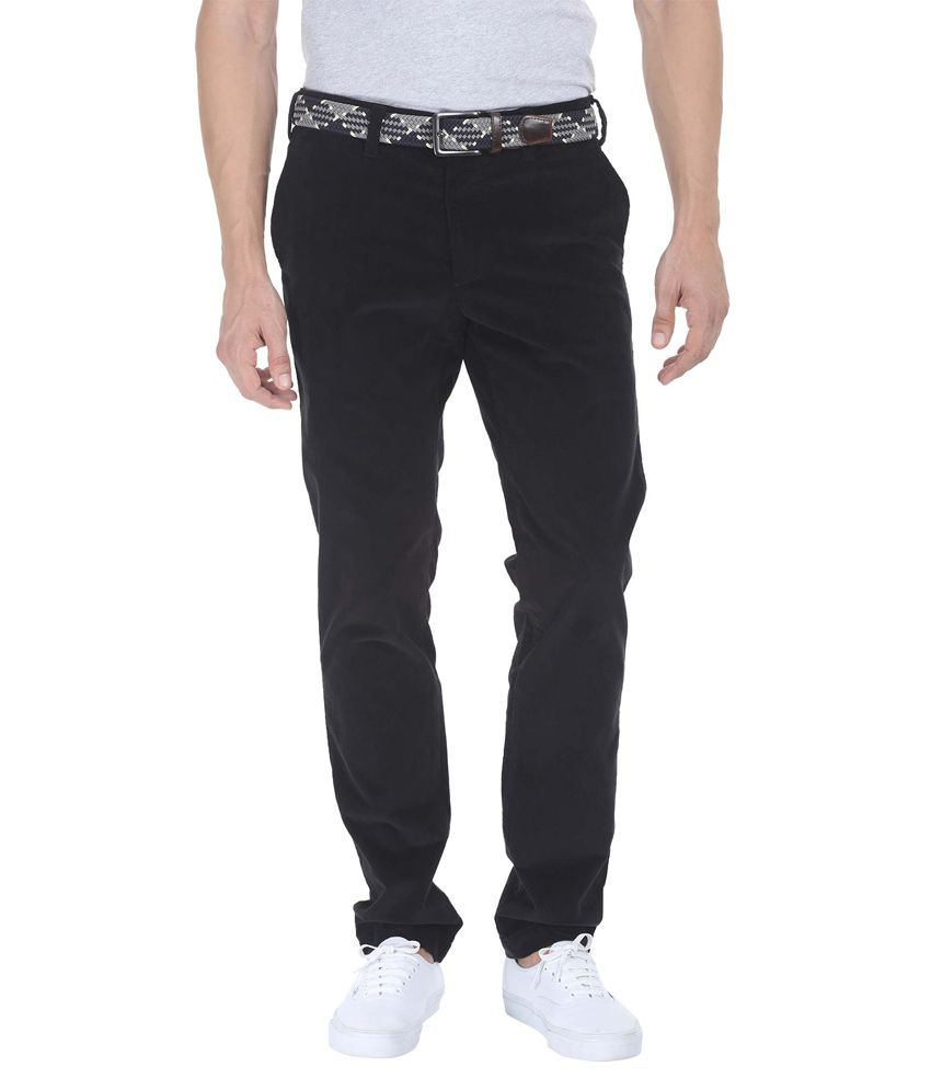 Zobello Black Slim Fit Casual Wear Chinos