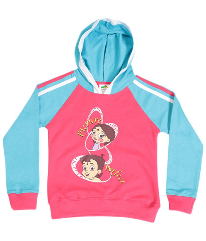 Chhota Bheem Pink & Sky Blue Cotton Hooded Sweatshirt
