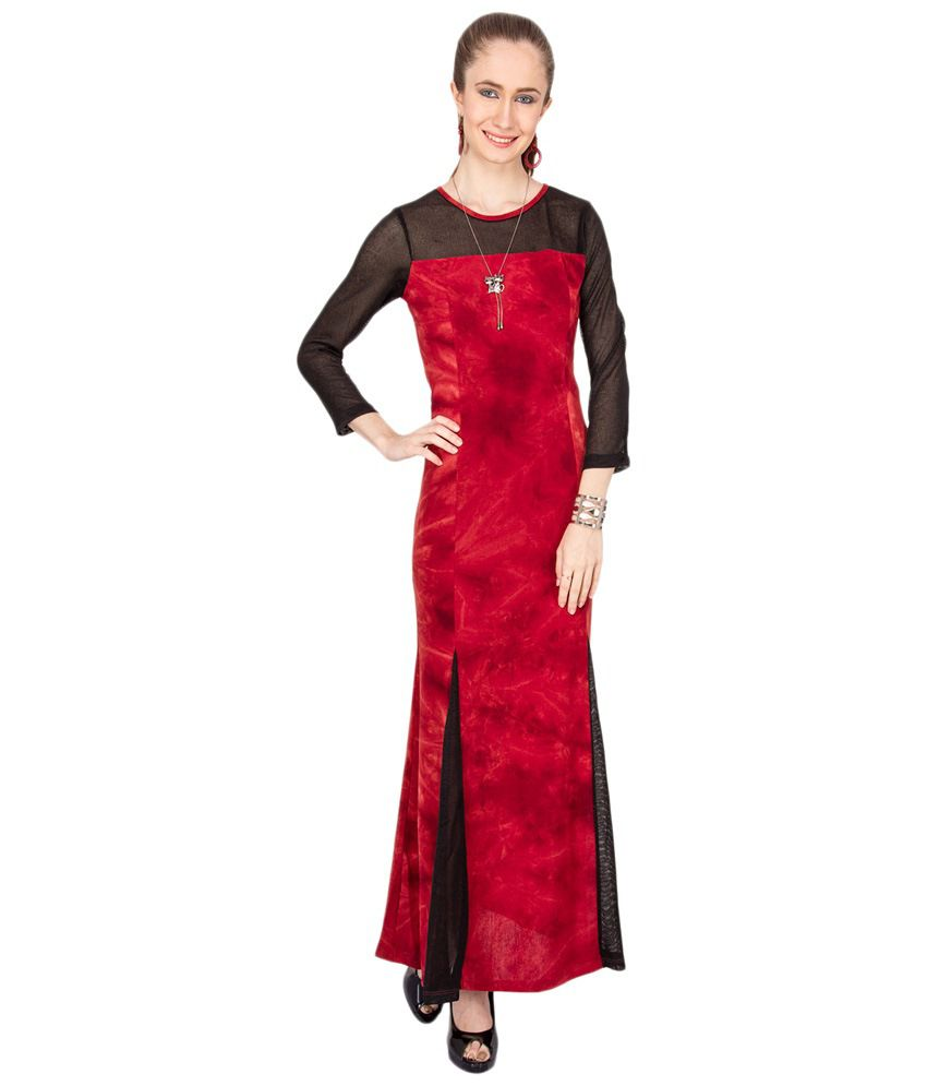 bf61f0a6cb4 Kaxiaa Red   Black Party Wear Maxi Dress - Buy Kaxiaa Red   Black ...