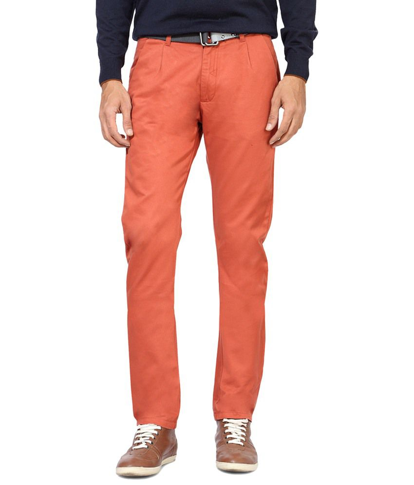 People Orange Casual Chinos
