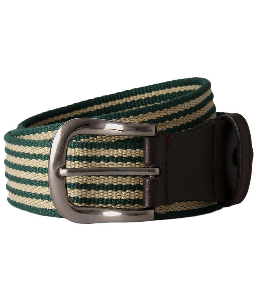 Peter England Green & Beige Casual Belt