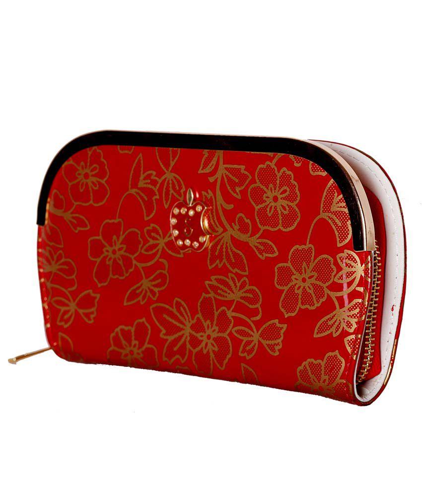 Aafiya Red Clutch