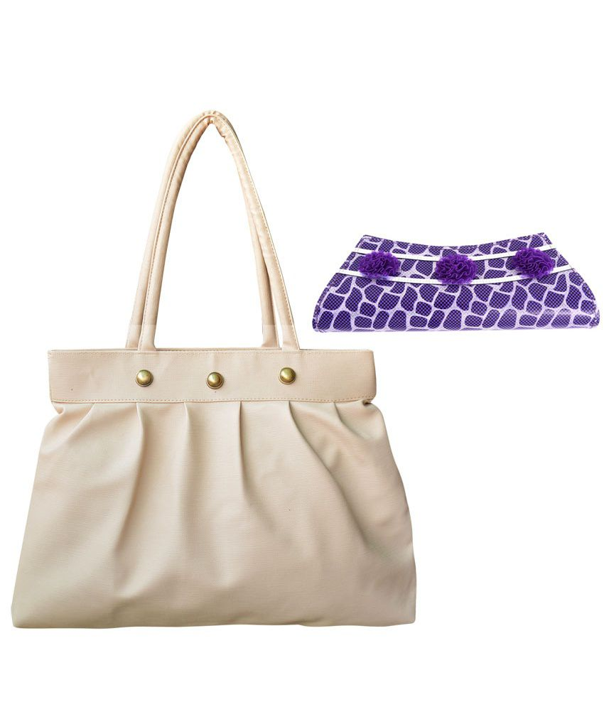 Bueva Combo Of White Hand Bag And Purple Clutch