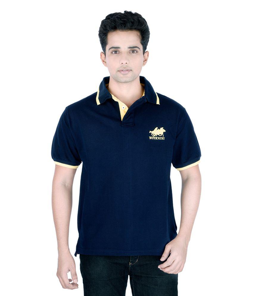 Buzkachi Navy Blue Cotton Polo T-Shirt