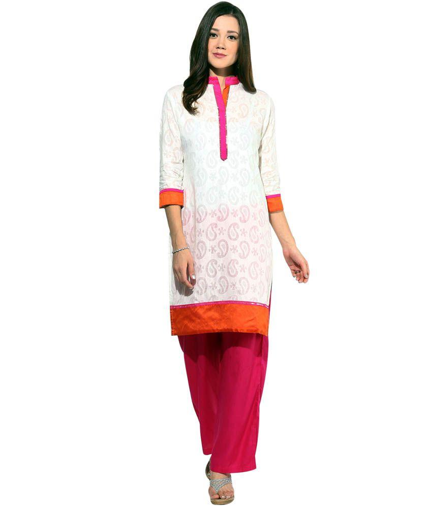 Jaipur Kurti White Cotton Stitched Suit