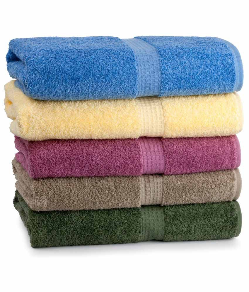 Jums Multicolour Cotton Towel Set Pack Of 5