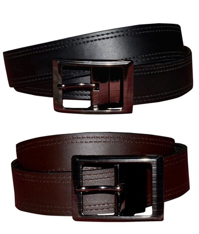 Padma Black And Brown Casual Single Belt For Men Combo Of 2