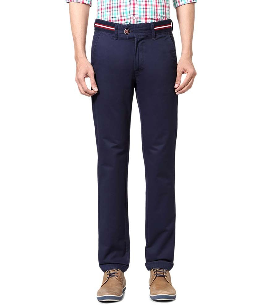 Peter England Blue Casual Trousers