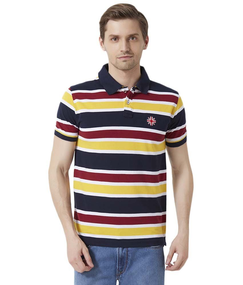 Peter England Navy Blue & Yellow Striped Polo T Shirt