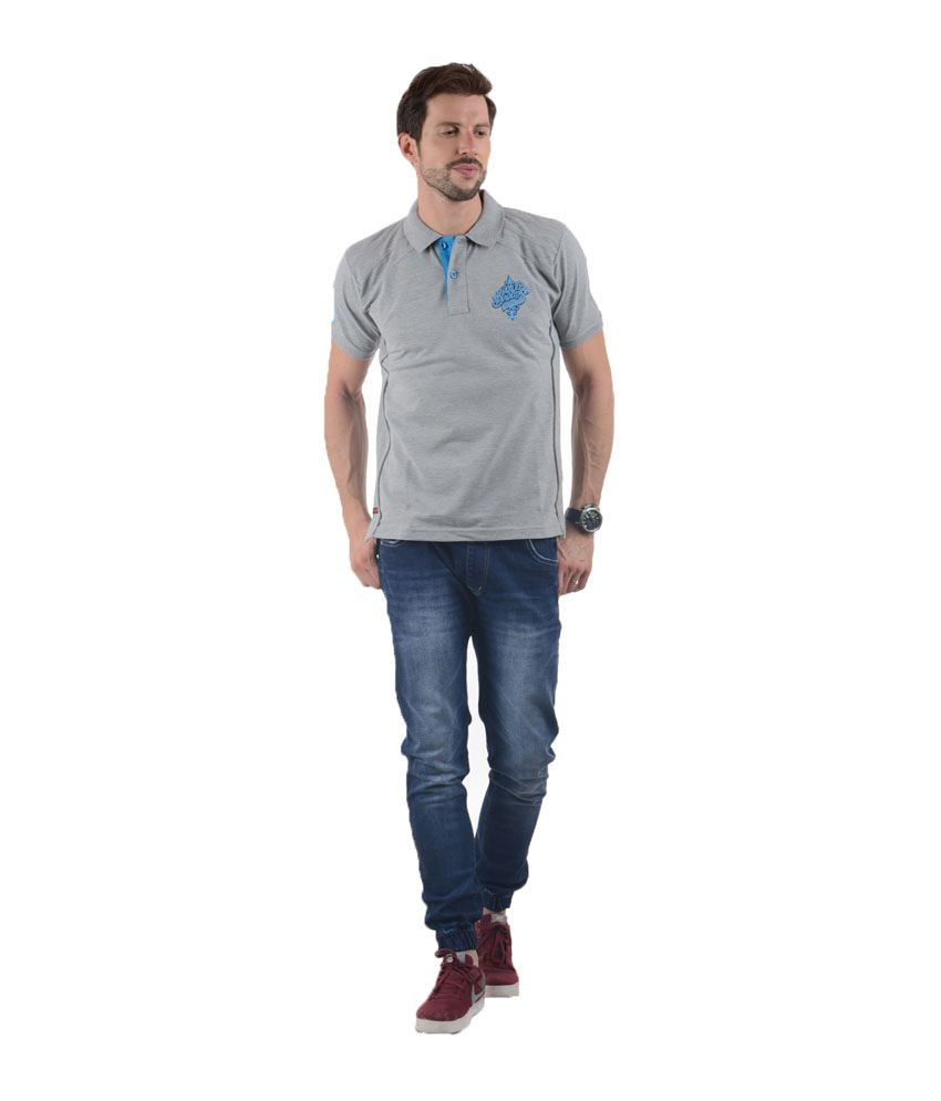 Tmo Grey Half Sleeves Basics Wear Polo T-shirt