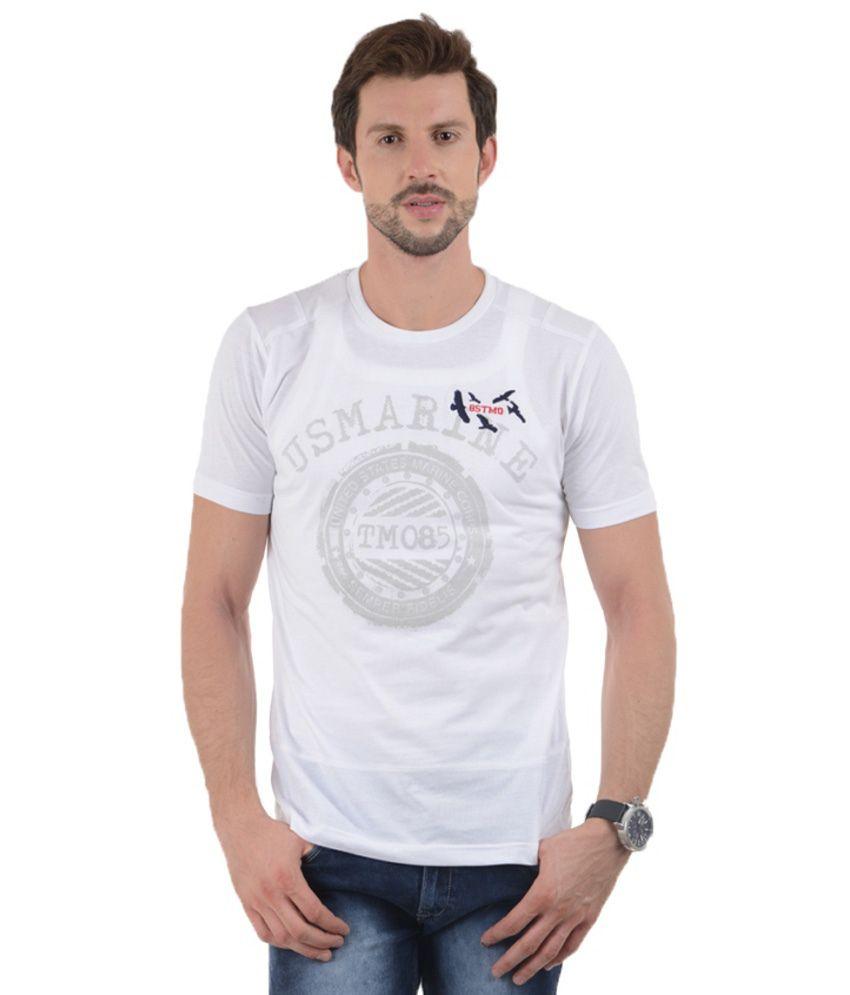 Tmo White Cotton Blend T Shirt