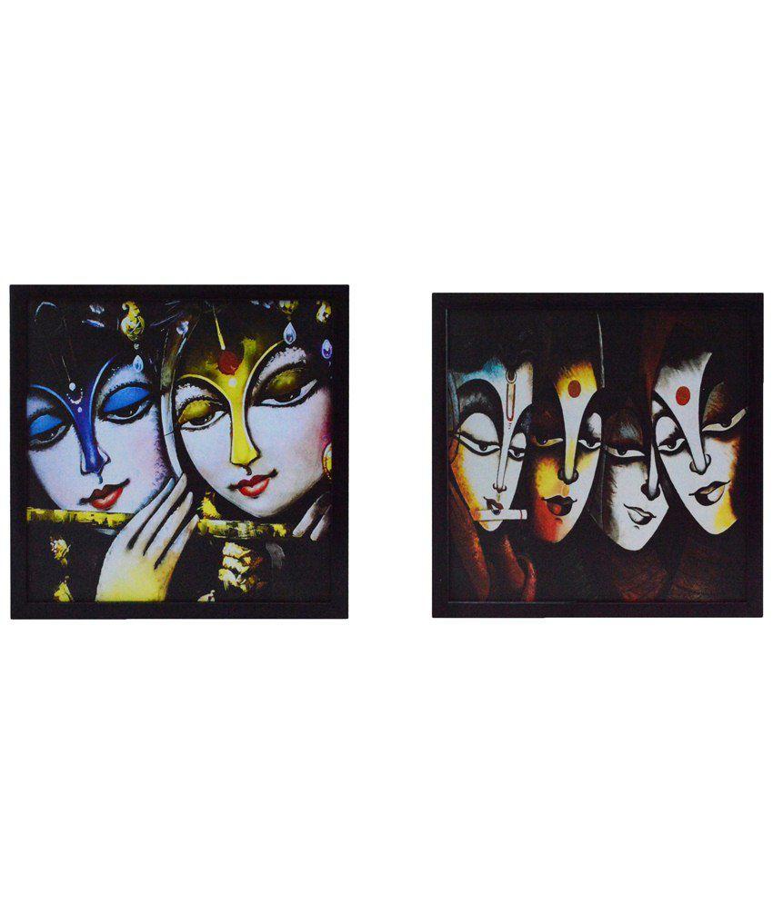 eCraftIndia Beige & Brown Pack of 2 Framed UV Art Print Paintings
