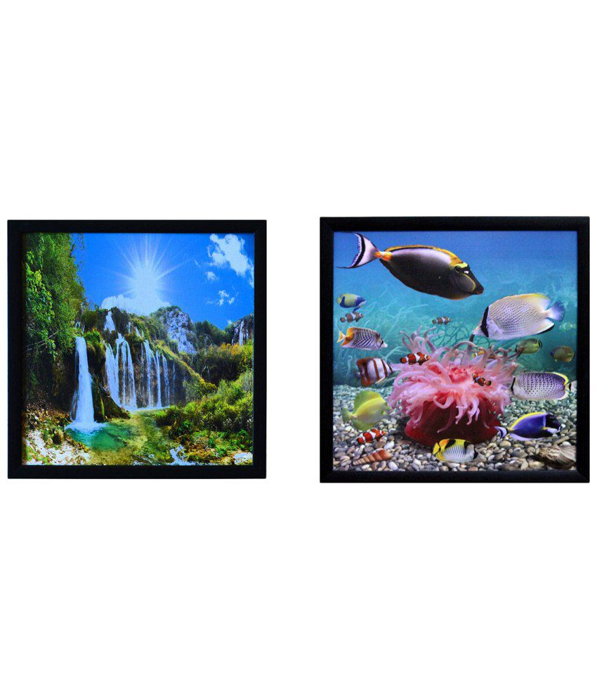 eCraftIndia Classic Multicoloured Pack of 2 Framed UV Art Print Paintings