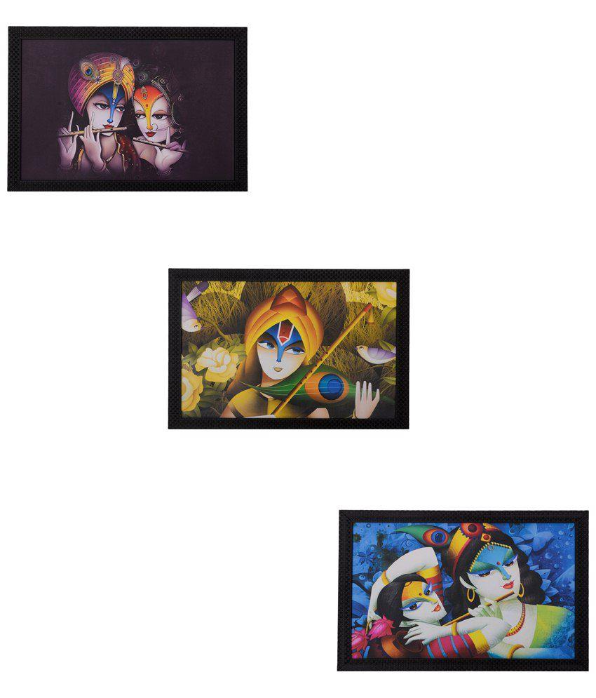 eCraftIndia Classy Multicoloured Pack of 3 Framed UV Art Print Paintings