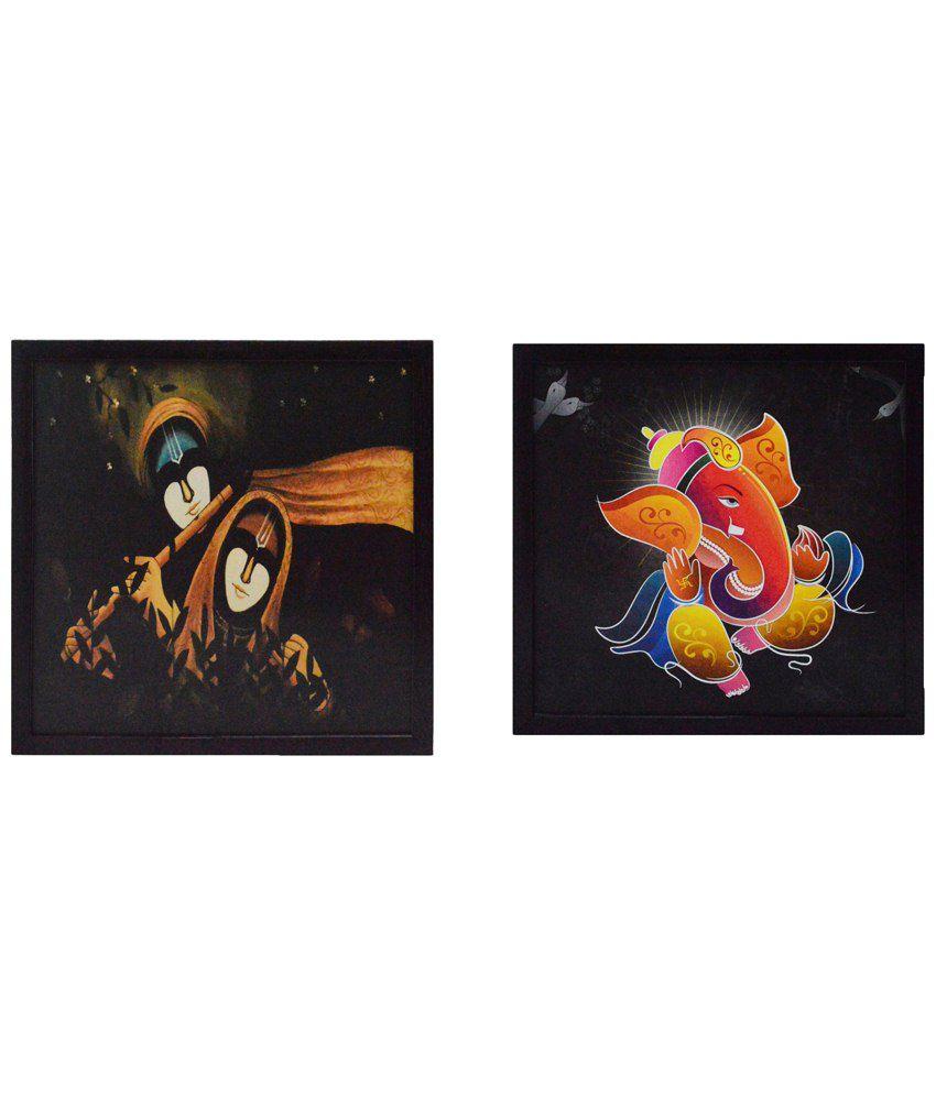 eCraftIndia Exclusive Brown & Yellow Pack of 2 Framed UV Art Print Paintings