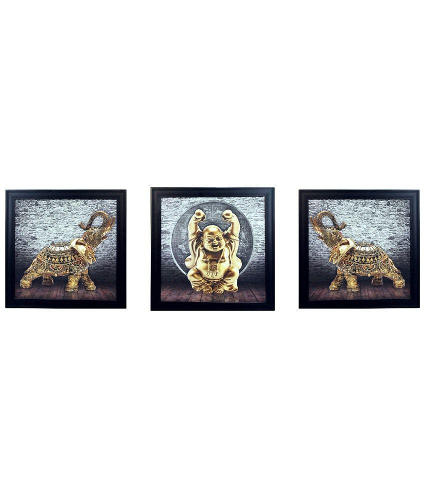 eCraftIndia Gray & Golden Pack of 3 Framed UV Art Print Paintings