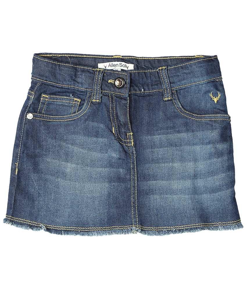 Allen Solly Blue Solid Skirt