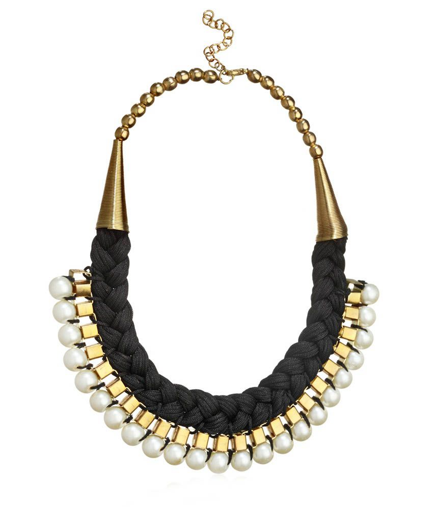 Shilpi Handicrafts Black Alloy Pearl Necklace
