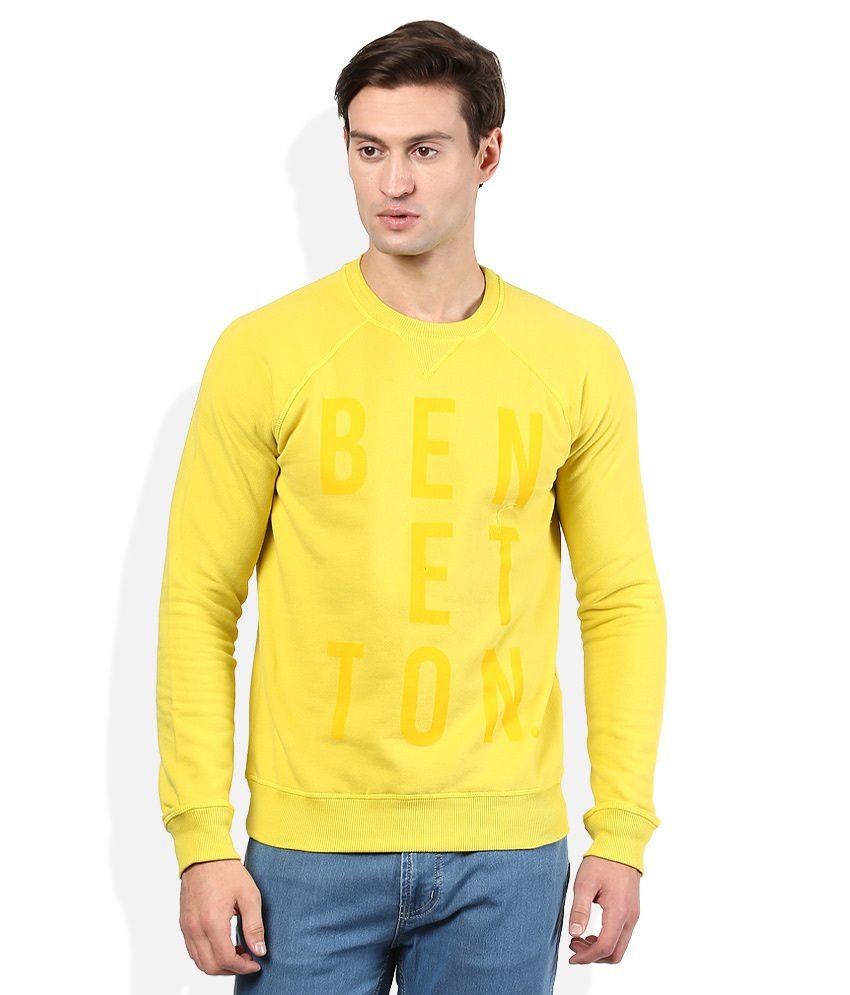 United Colors Of Benetton Yellow Solid Sweatshirt