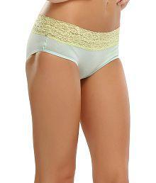 Clovia Light Green Bikini Brief/Panty With Lace Trims