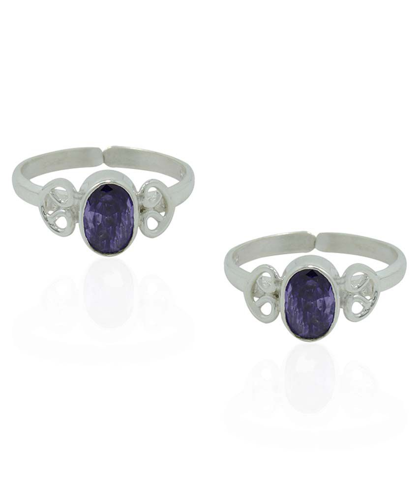 Frabjous Purple German Silver Toe Rings - Set Of 2