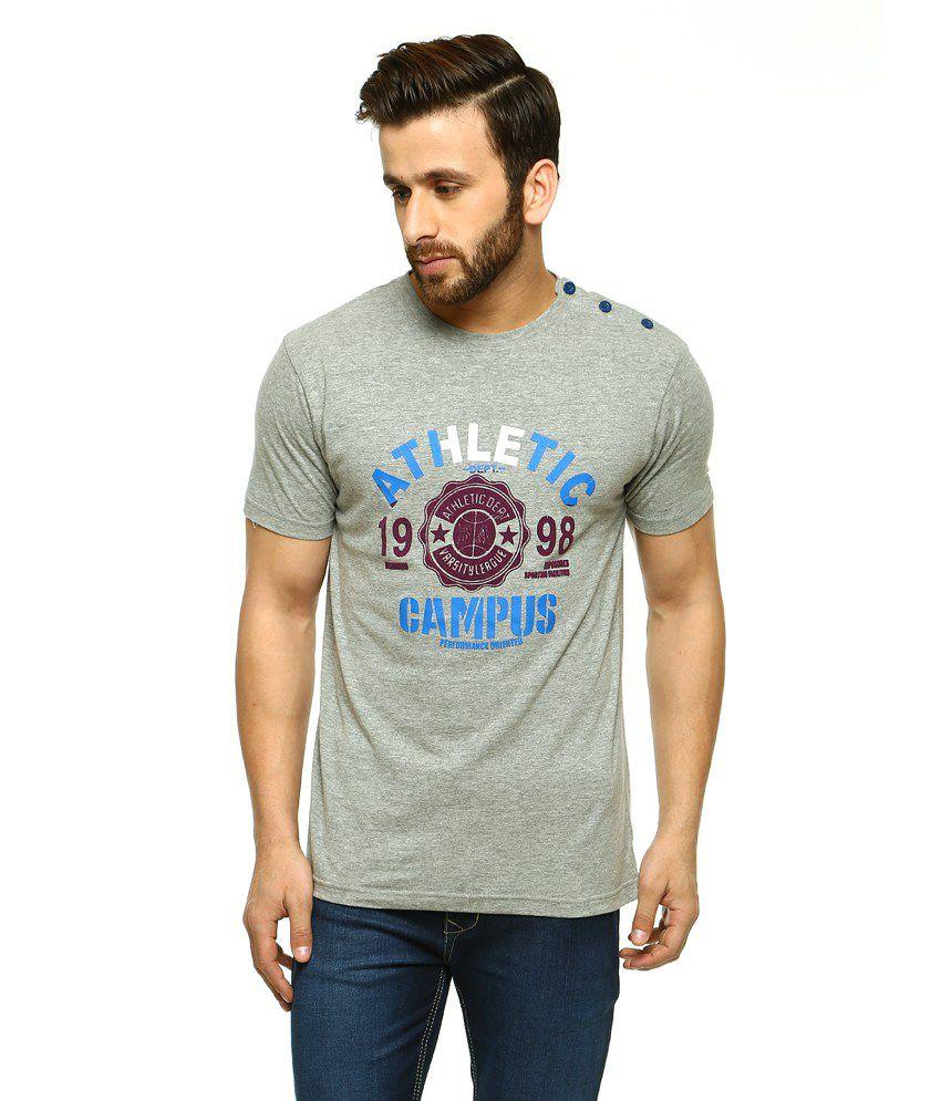 Gritstones Grey Half Sleeves Basic Polo T Shirt