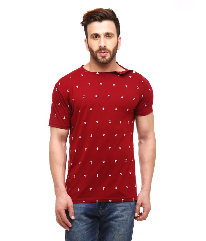 Gritstones Maroon Half Sleeves Basic Polo T Shirt