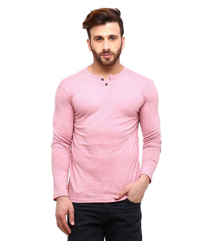 Gritstones Pink Full Sleeves Basic Polo T Shirt