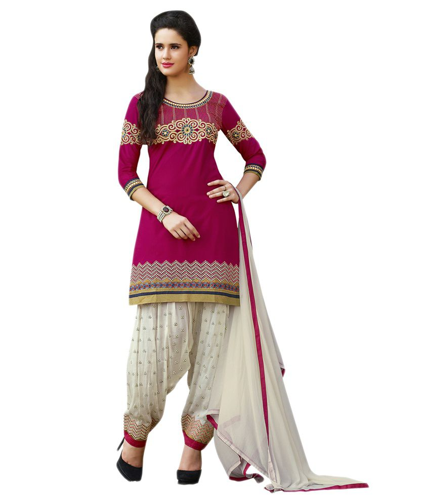 7de9ea9614 Patiala House Red and Grey Cotton Dress Material - Buy Patiala House Red  and Grey Cotton Dress Material Online at Best Prices in India on Snapdeal